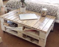 Pallet Coffee Table 'TURVAS' made from by FarmhousePalletsCo