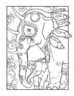 Mythical Elephant Color Page This Adult Coloring Is From Magical Kingdom