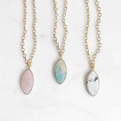 Chunky Gemstone Necklace in Gold. Rose quartz, Amazonite or White Turquoise
