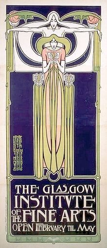 Frances MacDonald: Poster for the Glasgow Institute of the Fine Arts (1895)
