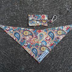 Reversible Tie On Style Dog Bandana and Poop Bag Holder Set