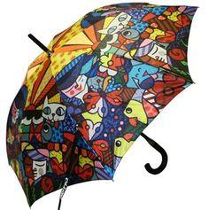 Romero Britto Garden Umbrella - raining cats, dogs, birds, butterflies and a fish!!