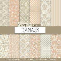 Digital paper damask DAMASK digital paper pack #digitalpaper #damask #pattern #classic #pattern