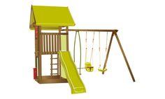 Aire de jeux bois : balançoire, vis-à-vis, siège bébé, toboggan, tour, cabane…