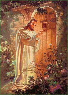 Christ at Heart's Door, Warner Sallman. My Grandmother had this beautiful pic in her home. Go Christian men, women and children. Love my sweet and perfect JESUS. Pictures Of Jesus Christ, Religious Pictures, Bible Pictures, Religious Art, Jesus Pics, Bath Pictures, God Pictures, Image Jesus, Jesus Art