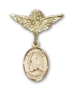 ReligiousObsession's Gold Filled Baby Badge with St. Emily de Vialar Charm and Angel with Wings Badge Pin -- To view further for this item, visit the image link. (This is an Amazon Affiliate link and I receive a commission for the sales)