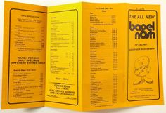1983 Vintage Menu Lot BAGEL NOSH Deli Restaurant Encino Beverly Hills California