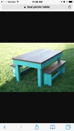 Two Tone Picnic Tables Painted