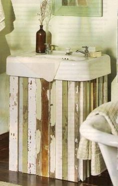 Nice Wood Sink Skirt   Perfect Idea For My New Apartment That Has An Old  Fashioned Sink   Less Tacky Than Fabric Skirts! Could Definitely Paint The  Wood In ...