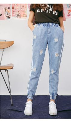Jielur Harajuku Fresh Striped Holes Ripped Jeans for Women Preppy Style Elastic High Waist Jeans Femme Jeans Mujer 2019 Dropship Plus Size Ripped Jeans, Ripped Jeggings, Womens Ripped Jeans, Ripped Skinny Jeans, High Jeans, High Waist Jeans, Ripped Jeans Style, Women's Dresses, Trousers Women
