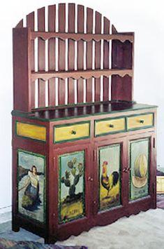 "hand painted sideboard storage cupboard / buffet cabinet, trastero ""El Gallo"" style"
