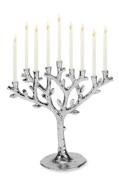 "Chanukah Menorah. ""Tree of Life"" collection by Michael Aram. Nickel-plated aluminum. (12"") $150"