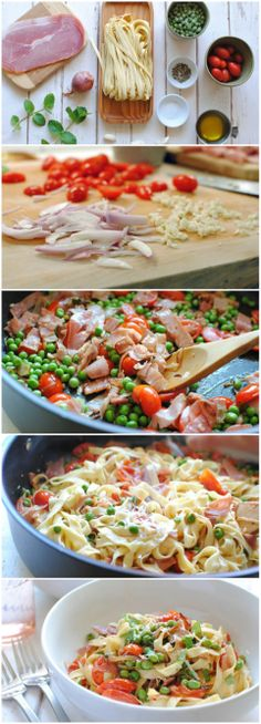 Pasta Fresca w/ Prosciutto, Peas & Tomatoes