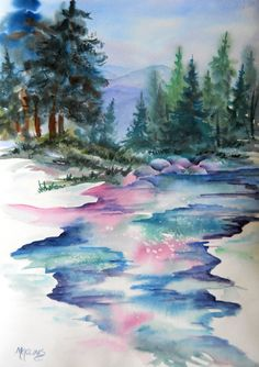 Mountain Stream Evergreen Painting by Colorado Watercolor Artist Martha Kisling