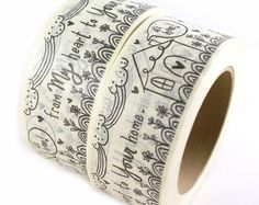 SHOP EXCLUSIVE - From my heart to your home masking tape - flowers, clouds and house design - 55 yards Custom Stamps, Custom Labels, Pen Pal Letters, Packaging Stickers, Address Stamp, Logo Stamp, Crepe Paper, Masking Tape, Hand Lettering