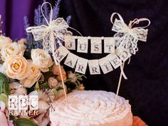 Just Married  Lace Cake  Banner with pearls and lace bow  / Wedding  Banner on Etsy, $22.00