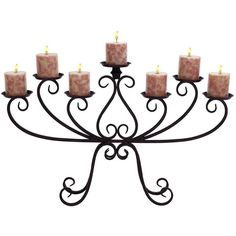 Wrought Iron Scroll Design Candelabra Candle Holder ($48) ❤ liked on Polyvore featuring home, home decor, candles & candleholders, black, black wrought iron candle holders, black candles, black candlestick holders, wrought iron candelabra and colored candles