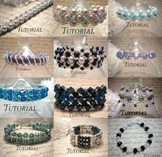 This listing is for a DIY Tutorial PDF Bundle of 12 Right Angle Weave Beaded Bracelets. If you wish to view more of my tutorials they can be Swarovski Bracelet, Swarovski Pearls, Pearl Bracelet, Jewelry Patterns, Beading Patterns, Right Angle Weave, Braids With Weave, Woven Bracelets, Beading Tutorials