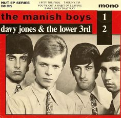 """Davy Jones & The Lower 3rd / The Manish Boys - David Bowie - record cover - This is a 1979 re-issue of early material.  Only the photo is from 1965."""