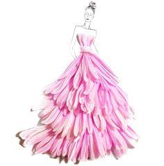 Floral Illustrations by Grace Ciao. Floral Dress. Vestidos florales. http://www.floritismo.com/2014/06/disenos-con-petalos-de-flores-por-grace.html