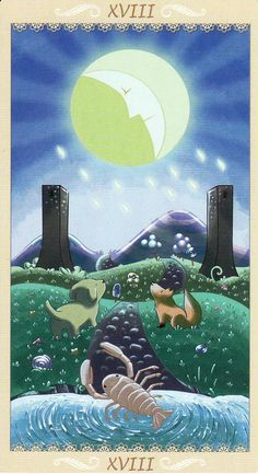 The Moon, from the Happy Tarot by Serena Ficca. http://www.life-plan-blog.com/2015/07/13/todays-tarot-facing-the-fear/