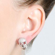 CZ Skull Stud Earrings #skull #halloween #emitations