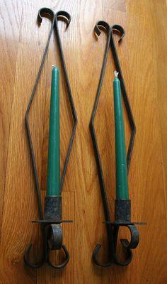 Pair Vintage Wrought Iron Candle Sconces