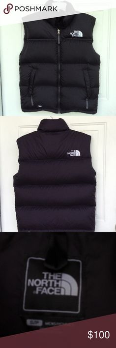 "North Face Vest Men's size small vest fits women's medium perfectly. Filled with goose down. Measures 21"" pit-pit and 27"" long. This vest has never been worn. Favorite winter vest for cold climates. North Face Jackets & Coats Vests"