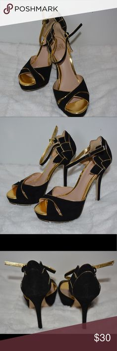 Beautiful Black Suede Heels with Gold Accents Size 6, only worn once. They were my prom shoes, so I only wore them that day.  They are 4 inch heels and have some marks on the suede from storage. Truth or Dare by Madonna Shoes Heels