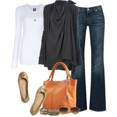 A fashion look from September 2012 featuring cardigan top, long sleeve cotton tees und dark bootcut jeans. Browse and shop related looks.