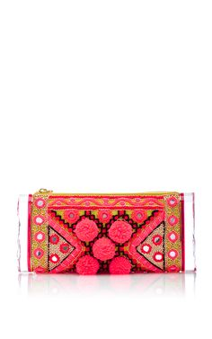 Soft Lara Embroidered Clutch in Pink by Edie Parker - Moda Operandi