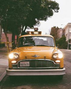 The Getaway    For their departure, the couple's planner tracked down a vintage taxicab she saw while driving around town. Luckily, it was available to rent through Marin Checker Taxi, and it makes the perfect getaway ride for the newlyweds.