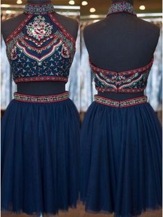 Two Pieces Halter Embroidery Short Homecoming Cocktail Dresses(ED1259)