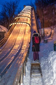 Tobogganing behind the Chateau Frontenac in Quebec City.
