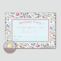 invitations pour anniversaire Betsy porcelaine