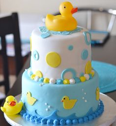 image detail for tiered baby shower cake with rubber ducky theme
