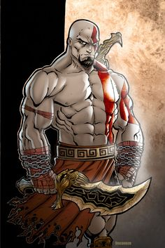 Kratos in color by Kid-Destructo on deviantART