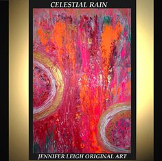 Welcome!      THIS IS RESERVED FOR JULIE      Celestial Rain    A colorful large 36x24 modern art abstract painting in shades of purple, orange,