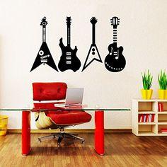 Wall Decals Guitar Electro Jazz Musical Instrument Guitars Recording Studio Bedroom Dorm Vinyl Sticker Wall Decor Murals Wall Decal: Amazon.co.uk: Kitchen & Home