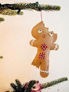 Bwah haha! A half-eaten gingerbread man DIY ornament.