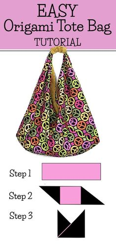 Easy Origami Tote Bag Tutorial - This is a super easy DIY tote bag tutorial with video AND written step by step instructions. You can make this out of canvas or quilting fabric. This Origami Tote Bag is lined and with boxed corners. This is ideal as a mar Origami Tote Bag, Diy Tote Bag, Origami Bookmark, Diy Bags Tutorial, Origami Tutorial, Origami Instructions, Purse Tutorial, Fabric Origami, Origami Paper