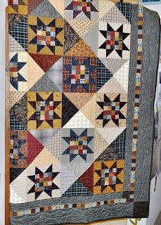 Fat Quarters Quilt Shop: At Home with Country Quilts by Cheryl Wall--Twilight Stars Each finished block is by the finished quilt is 70 square. Colchas Quilt, Plaid Quilt, Shirt Quilt, Patch Quilt, Man Quilt, Star Quilt Blocks, Star Quilt Patterns, Star Quilts, Scrappy Quilts
