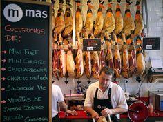 Jamón stall at Mercado de San Miguel, Madrid.