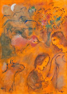 Marc Chagall, Les Amoureux sur Fond Orange on ArtStack Marc Chagall, Moonlight Painting, Orange Art, Jewish Art, French Artists, Pictures To Draw, Famous Artists, Art Techniques, Lovers Art