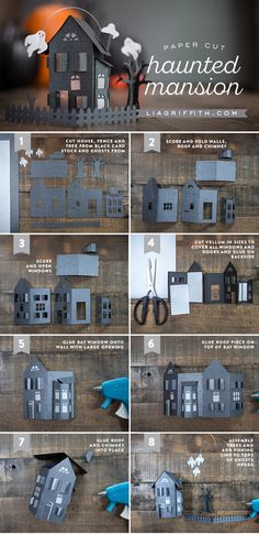 Paper Cut Haunted Mansion - Tutorial and template (SVG cutting machine file AND a PDF). Use as a centerpiece or in a diorama! Paper Cut Haunted Mansion - Tutorial and template (SVG cutting machine file AND a PDF). Use as a centerpiece or in a diorama! Casa Halloween, Theme Halloween, Holidays Halloween, Halloween Crafts, Halloween Decorations, Halloween Candelabra, Halloween Diorama, Paper Halloween, Halloween Village