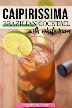 Looking for a refreshing white rum cocktail? Then you will love this caipiríssima! This Brazilian mixed drink is perfect for warm evenings. Try it now!   Brazilian drink   Brazilian cocktail   white rum cocktail   white rum drink   summer cocktail   summer drink   spring drink   spring cocktail   lime cocktail #iheartbrazil #cocktail Rum Recipes, Easy Drink Recipes, Drinks Alcohol Recipes, Cocktail Recipes, Brazilian Drink, Brazilian Cocktail, Party Food And Drinks, Summer Cocktails, Brazilian Recipes