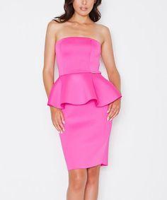 Loving this Fuchsia Sleeveless Peplum Dress on #zulily! #zulilyfinds