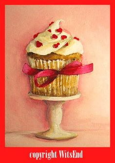 cupcake painting art For My Cupcake original ooak by 4WitsEnd