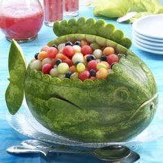 Watermelons make great fish..., boats... and beach buckets too!