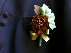 groom boutonniere rustic fall winter forest lapel by MomoRadRose, $15.00